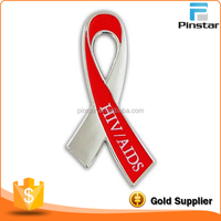 HIV AIDS Awareness Red Silver Ribbon Lapel Hat Jacket Pin