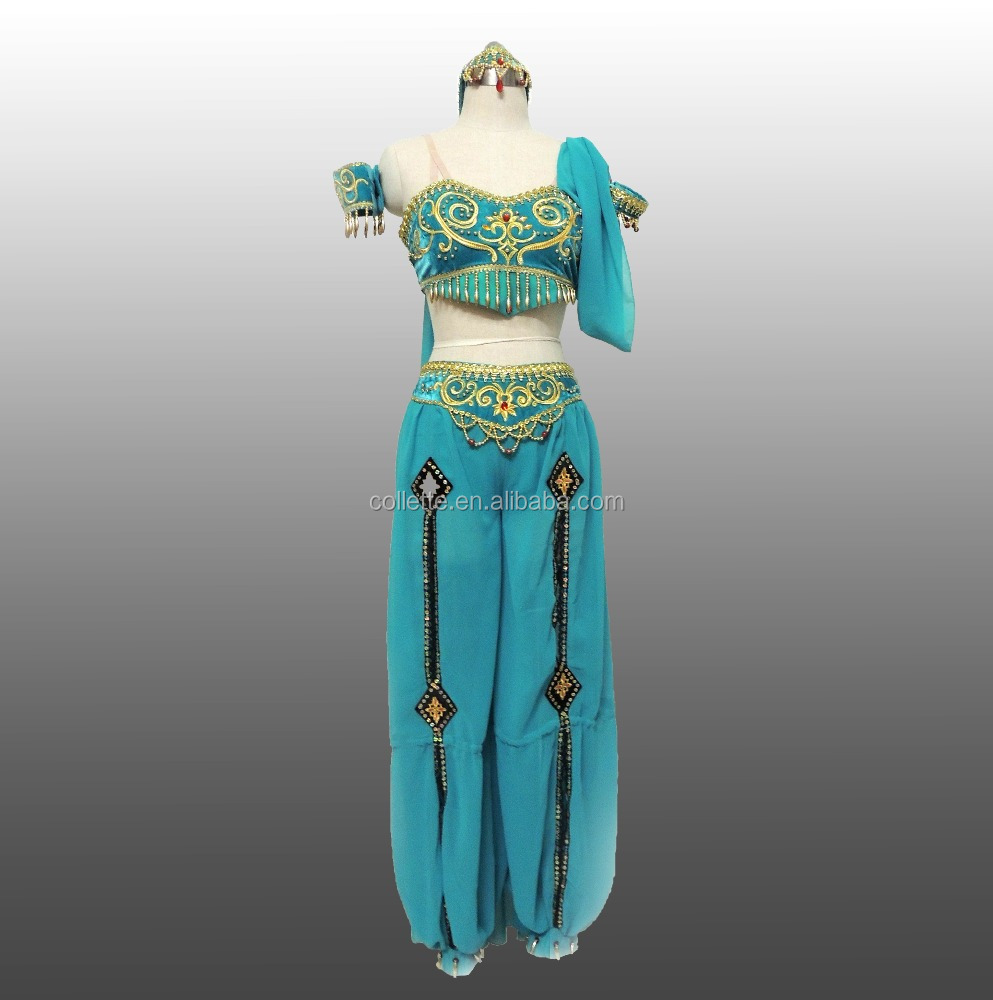 BLY1042-6 turquoise belly costumes with gold emboridary
