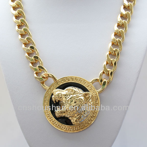 NEW fashion gold enameled Leopard/Jaguar Pendant Chain Necklace Jewelry