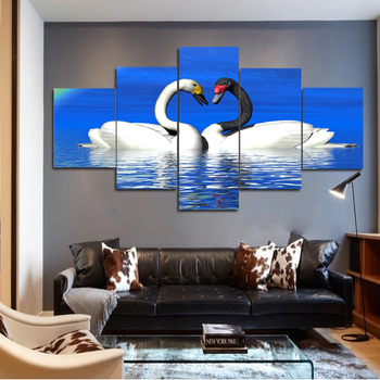 Modern Animal Mandarin Duck Plays In High Definition Printing Five Pieces Of Canvas To Decorate The Mural Buy 5 Pieces Of Fabric Decorated
