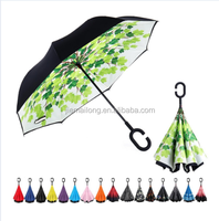 Windproof Double Layer Folding Inverted Umbrella, Self Stand Upside-Down Rain Protection Car Reverse Umbrellas