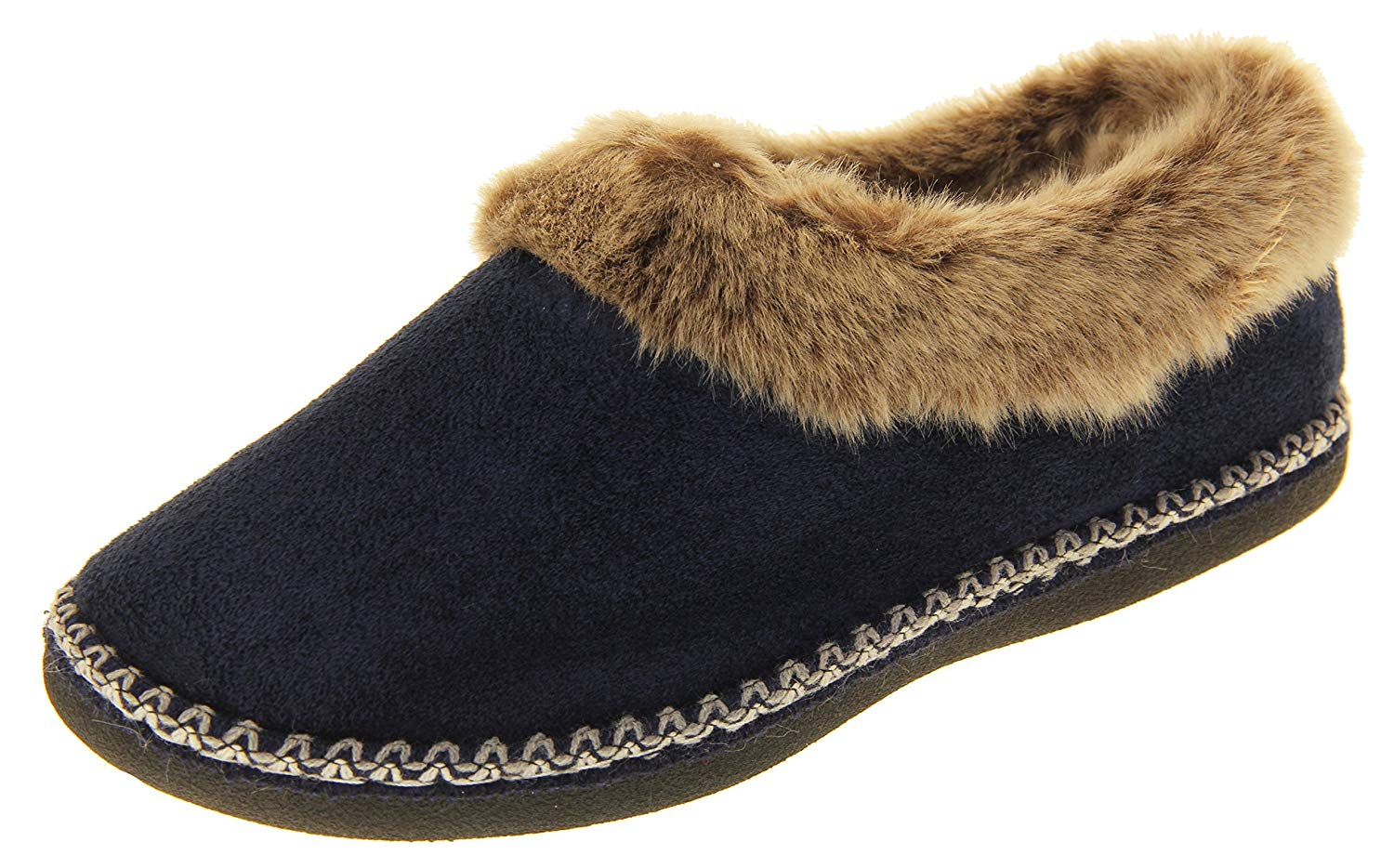 54fa608e4 Get Quotations · Coolers Womens Navy Blue Synthetic Fur Lined Slippers 8  B(M) US