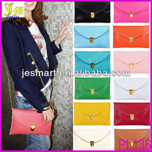 2014 Best Selling Womens Ladies Envelope Clutch Bag Chain Pu Leather Tote Clutch Purse Shoulder Hand Bag