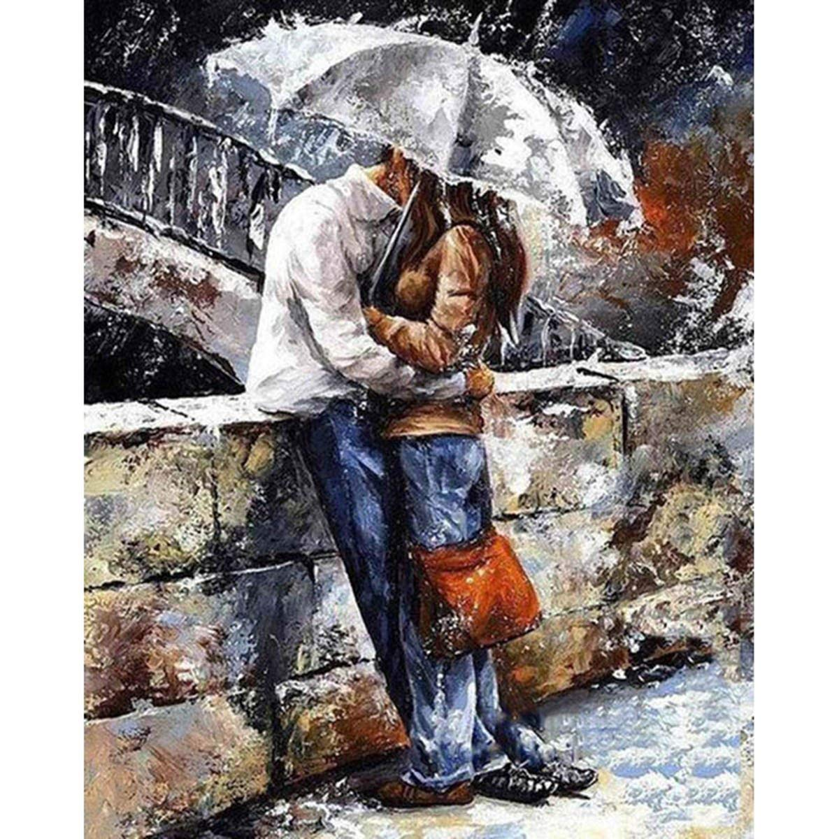 Shukqueen Diy Oil Painting, Adult's Paint by Number Kits, Acrylic Painting-Couple Kisses in the Rain 16X20 Inch (Framed Canvas)