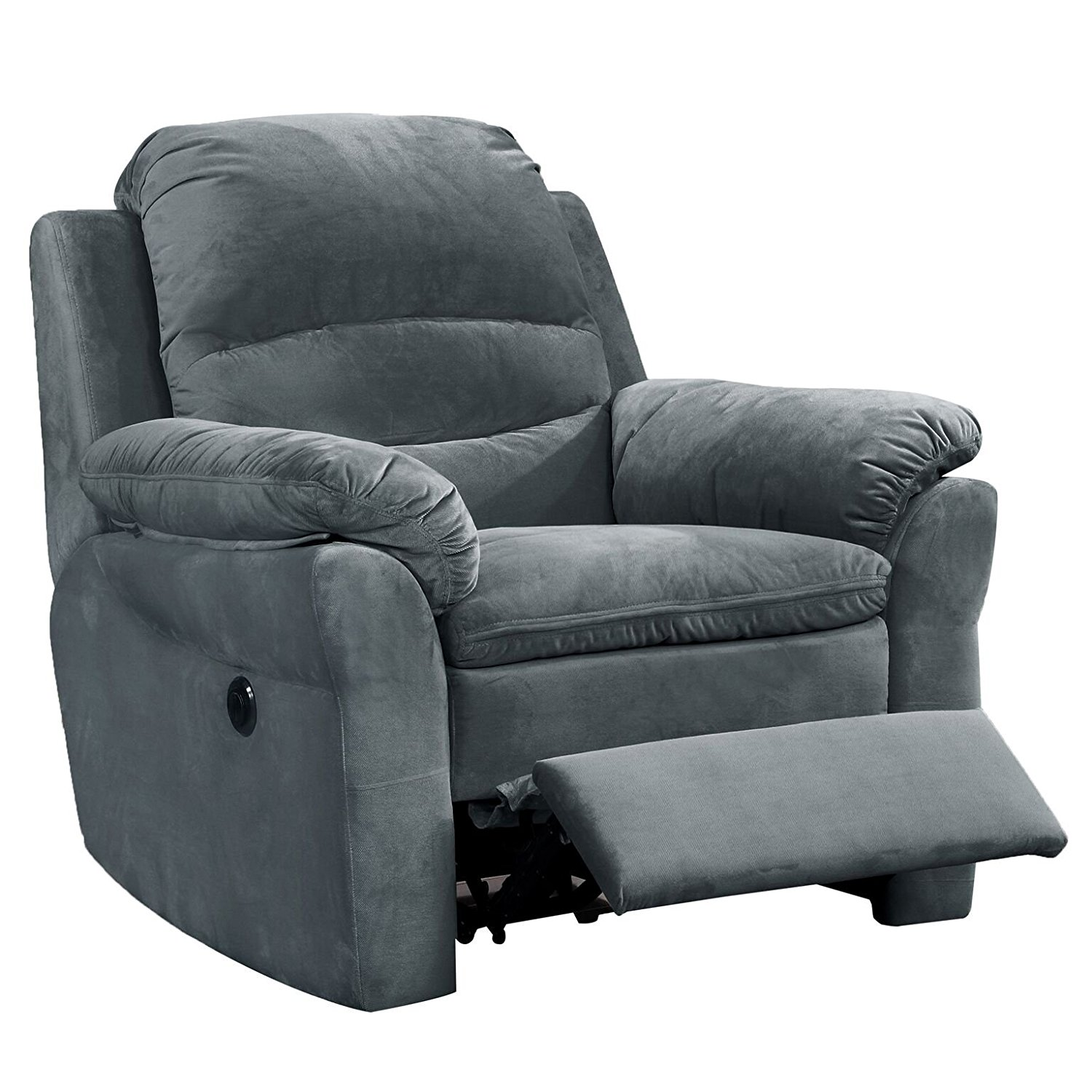 AC Pacific Felix Collection Contemporary Style Fabric Upholstered Living Room Electric Recliner Power Chair, Dark Grey