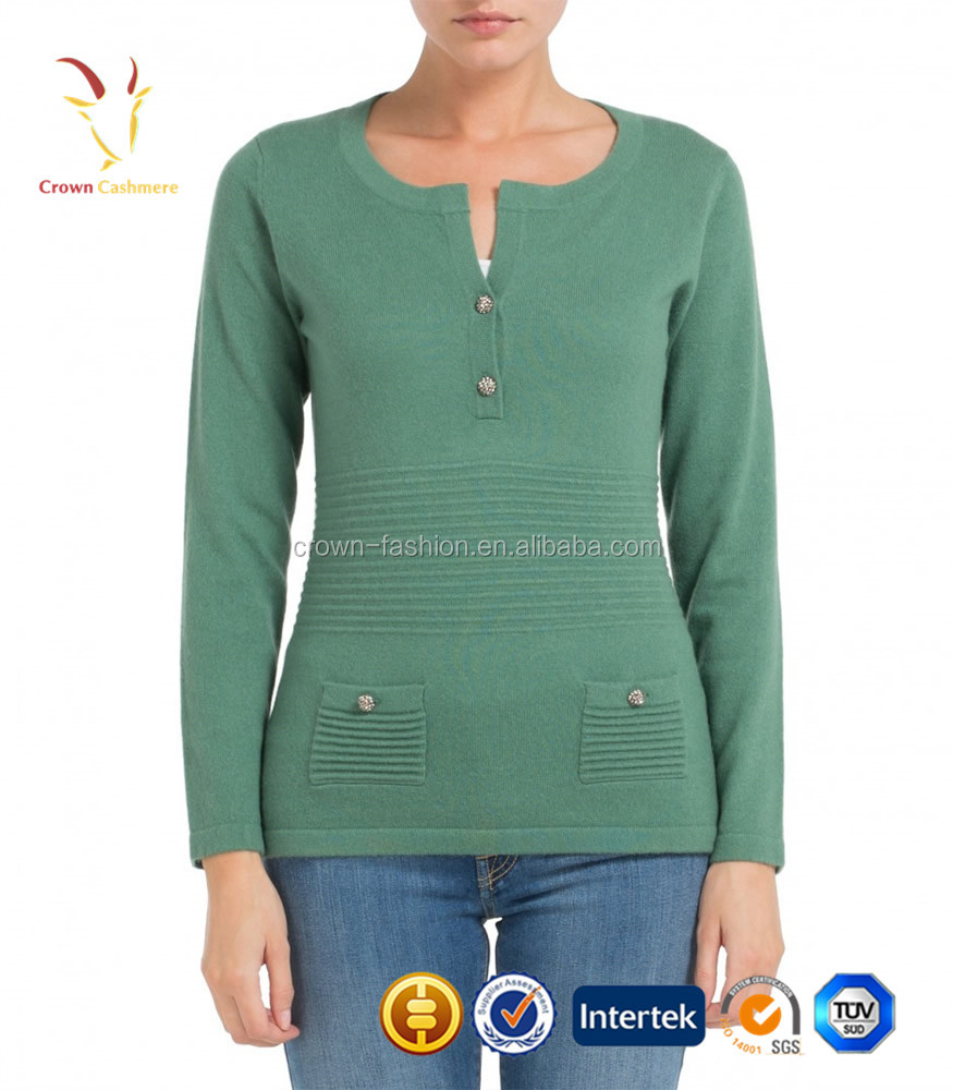 Woman Button Down knitted Crew Neck Pullover Sweaters with Pocket