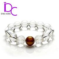 Natural Clear Quartz Crystal Bead Bracelet With Red Sandalwood