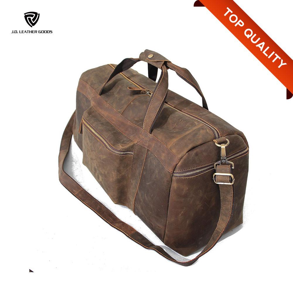Big Capacity Mens Leather Travel Duffel Bag/