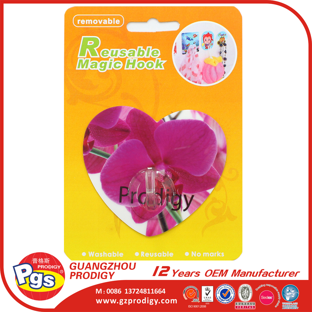 heart shape plastic magic wall hook
