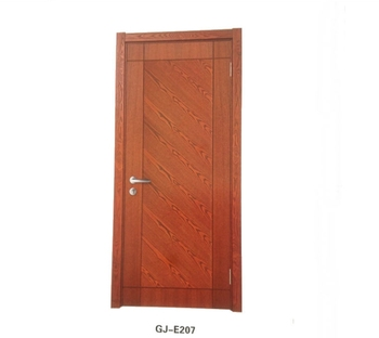 GUJIA Parquet Design Single Veneer Painting MDF Wooden Flush Interior Doors  With Door Frame As Picture