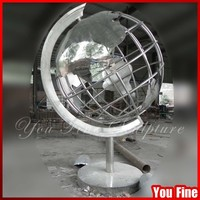 Outdoor Metal 304# Stainless Steel Globe Sculpture for Garden
