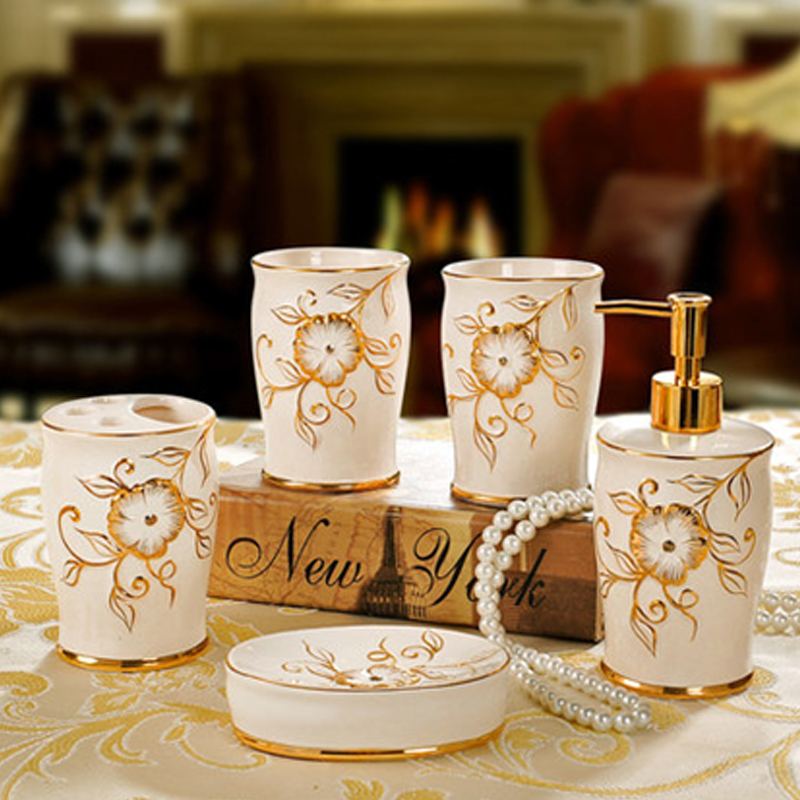 fashion luxury ivory ceramics gold bathroom set toothbrush holder bathroom supplies inbathroom. Black Bedroom Furniture Sets. Home Design Ideas