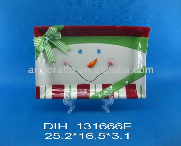 Funny snowman shaped ceramic square plate
