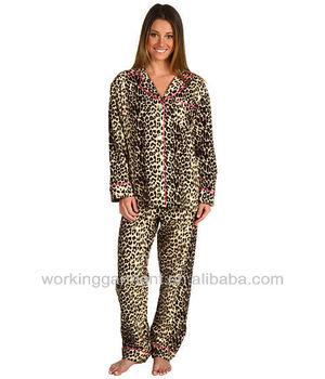 Women Leopard Print Flannel Pajama - Buy Women Leopard Print ...