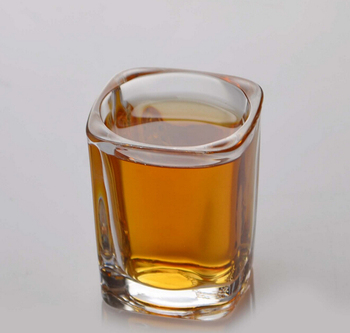 Haonai 70ml small square glass whiskey glass mini shot glass cup