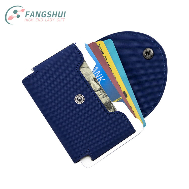Fashional navy blue flat leather rfid blocking teen wallets magnetic metal pu leather silim credit card case holder wallet