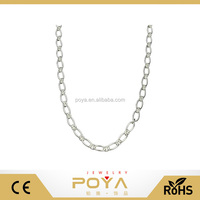 POYA Jewelry Oval 1+1 Sterling Silver Toggle Clasp Nickel Free Chain Necklace