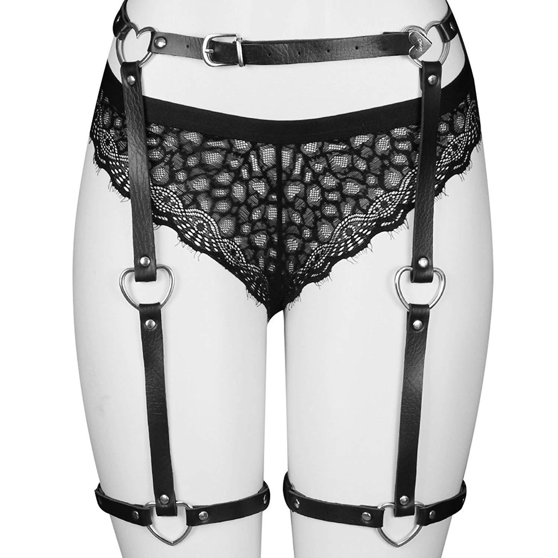 5568e67a1 Get Quotations · BANSSGOTH PU Harness Leg Sexy High-Waisted Leather Suspender  Belt Punk Garter Belt