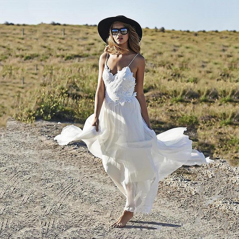 Sexy Bohemian Beach Style Boho Lace Wedding Dresses Hippie