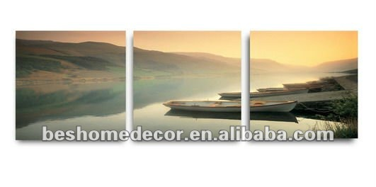 Beauty landscape canvas painting (lake, boat, hill) 3 split home decorative canvas oil picture