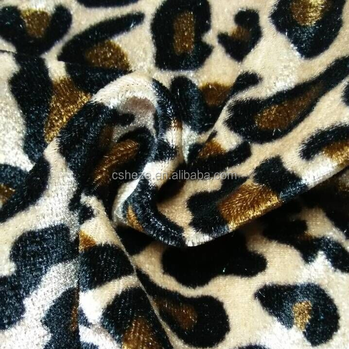 Leopard printed combed stretch velour fabric