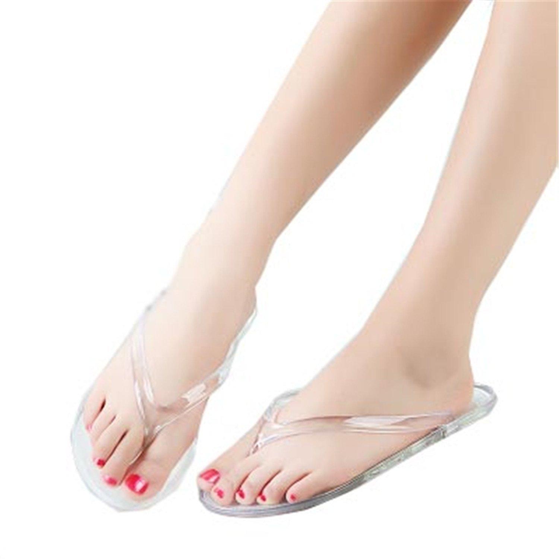 8cf8ff2af3e4f3 Cantalou Women Fashion Sexy Transparent Flip Flops Female Casual Spring and  Summer Flat Flip Flops Lady