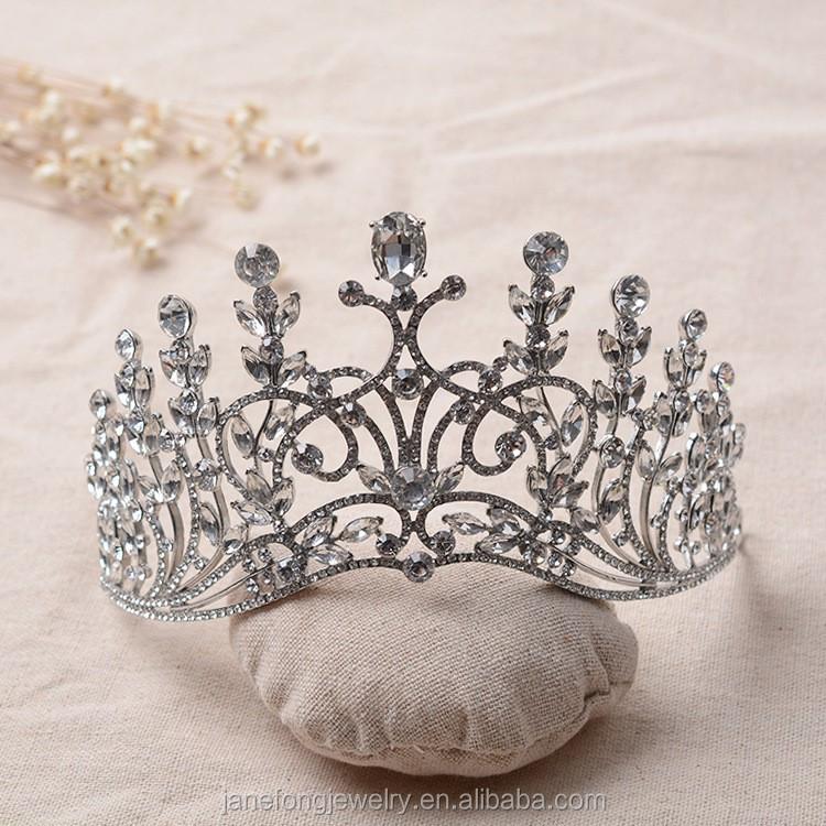 تيجان ملكية  امبراطورية فاخرة Alloy-Big-Wedding-Tiara-Crown-Crystal-Miss
