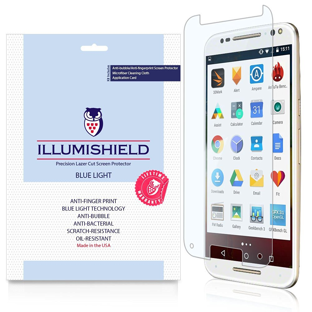 iLLumiShield - Motorola Moto X Pure Edition / Style Screen Protector + (HD) Blue Light UV Filter / Premium Clear Film / Anti-Fingerprint / Anti-Bubble Shield - [2-Pack]& Lifetime Warranty
