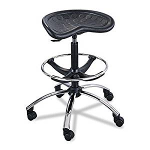 Sit-Star Stool with Footring & Caster, 27-36h Seat, Black/Chrome, Sold as 1 Each