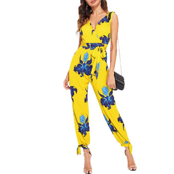 Latest design women sleeveless sexy yellow jumpsuit adult overalls latest girls fashion coat pant designs long floral jumpsuit