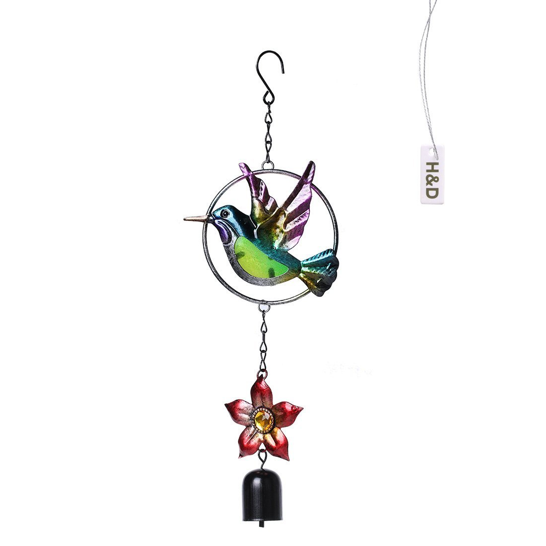 H&D Top AAA Bird Metal and Glass Wind Chimes Handcrafts Home Garden Decoration (bird & flower)