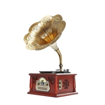 Fanmusic Classic Phonograph, Wooden Gramophone,Antique & chocolate color JHF-077