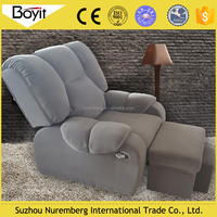fabric recliner sofa with footstool/high quality livingroom furniture ice velet sofa/chenille fabric recliner sofa