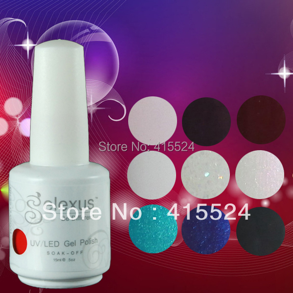 Free shipping 100Pcs lot Good Quality Gelexus soak off UV LED Nail Gel Polish 343Colors Available