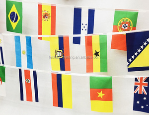 Cheap promotional polyester country flag lines with differelnt national flag printing