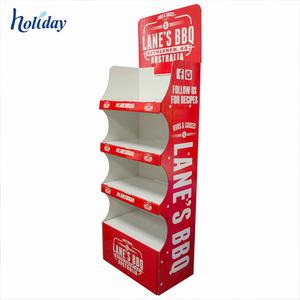China Best Sell New Products POS Custom Floor Corrugated Cardboard BBQ Shelf Display Stands Racks