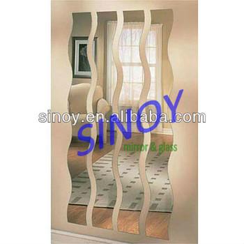 Hot 5mm beautiful wavy shaped mirror wall mounted hair for Miroir vague ikea