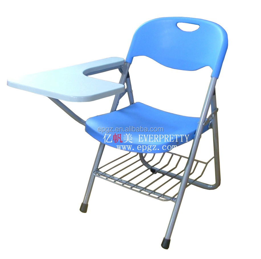 PP Plastic Material Folding School Chair With Writing Pad Book Rack Study Furniture Conference Training Chair
