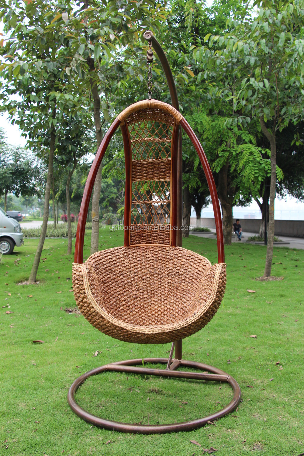 Hanging Rattan Swing Chair Mid Century Wicker Egg Bamboo