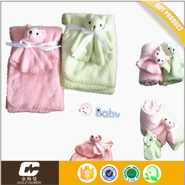 100% ployester China Baby Security Plush Blanket with a Toy