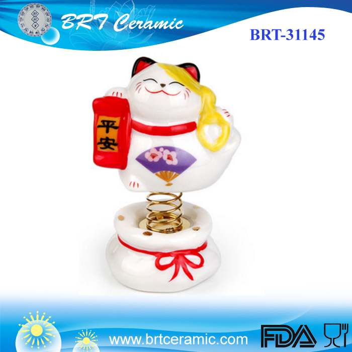 Custom lucky cat ceramic spring cat figurine for car decoration
