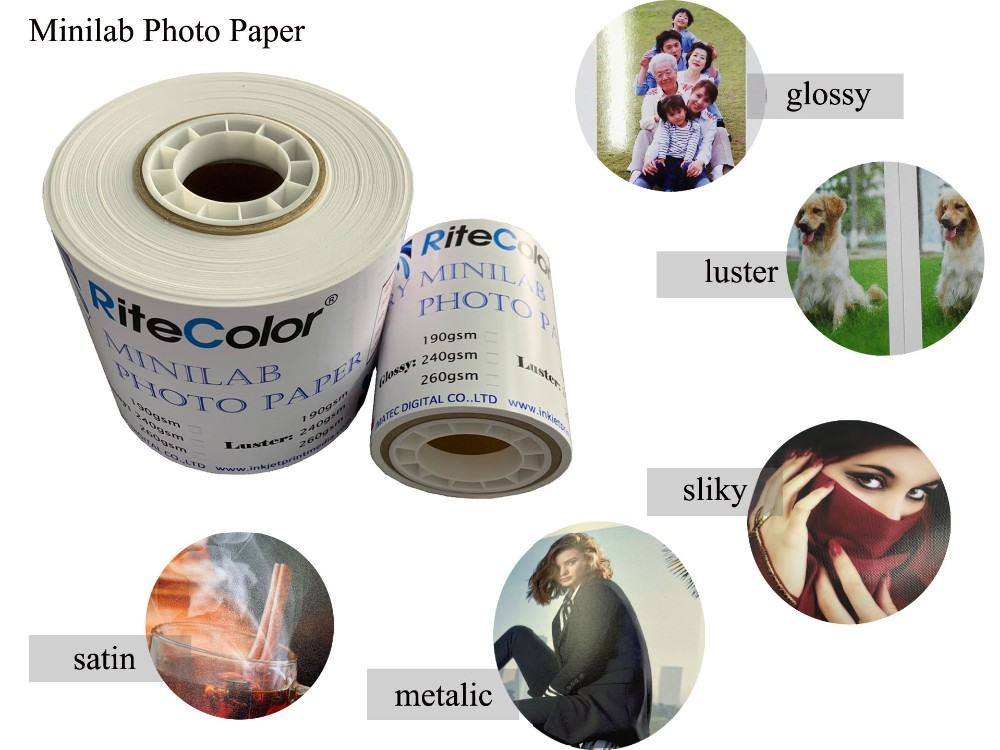 Wholesale Professional Digital Plus Glossy and Silky Minilab Photo Paper Roll 6x65M for Fujifilm Noritsu