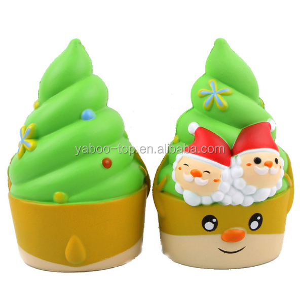 (New) #85 Factory Wholesale Cute PU Christmas Ice Cream Plush Toys Stuffed Santa Cup Cake Doll for Gifts