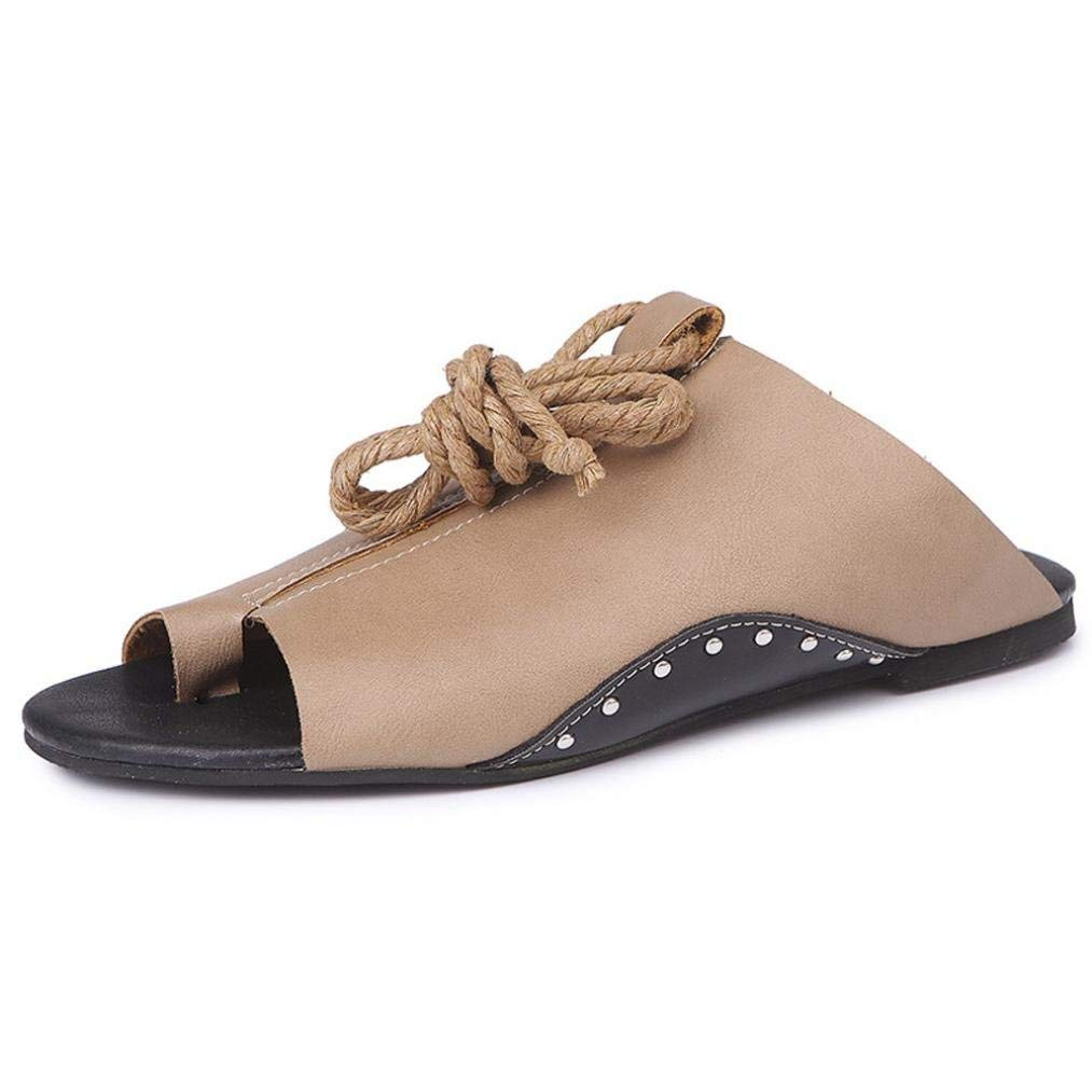 Womens Flat-Bottomed Ankle Strap Sandals Flat Bohemia Flip Flop Bohemian Low Heeled Sandals Slide Wedge Platform Thong Slipper Open Toe Soft Girl Outdoor Beach Shoes (US:6, Khaki)