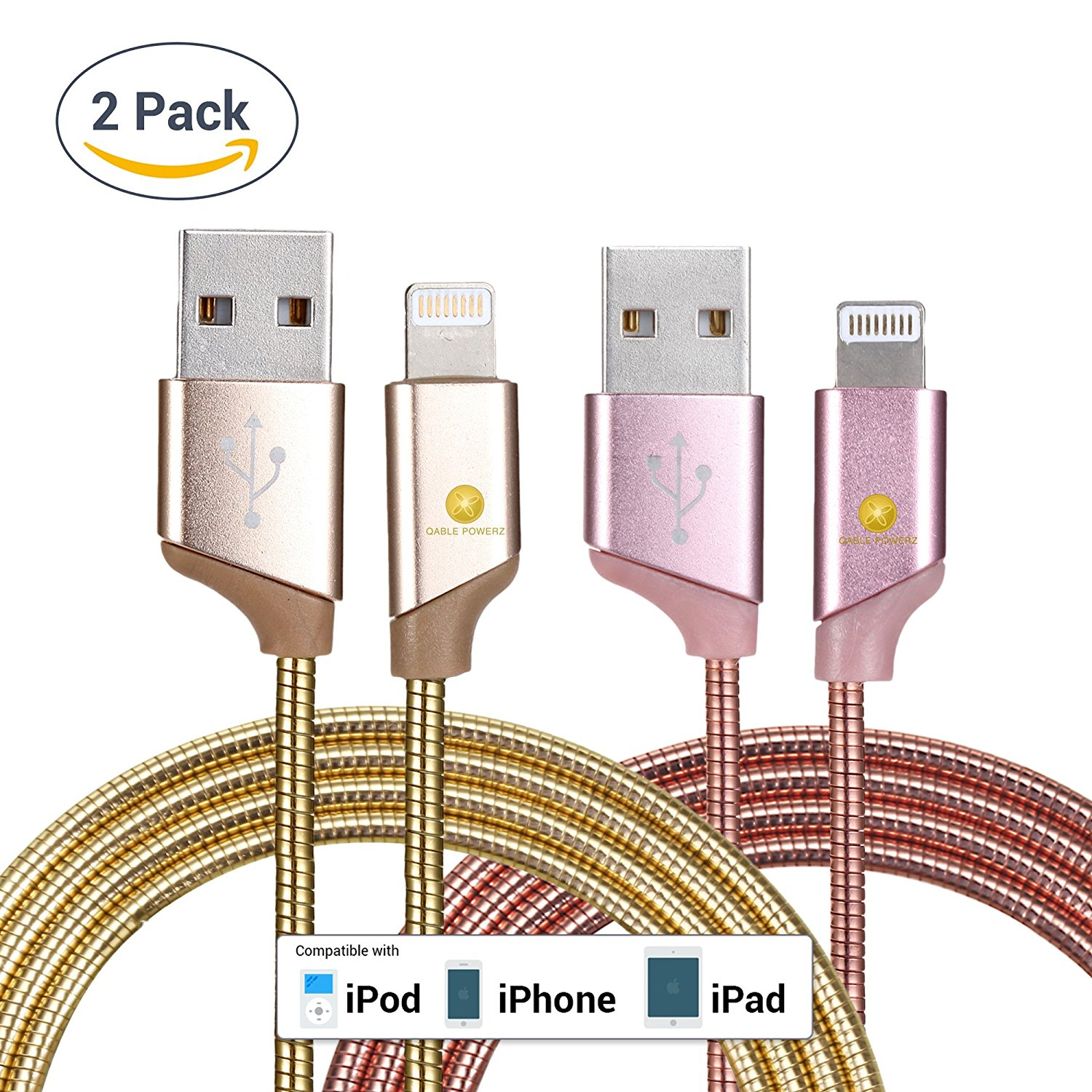 2pk New Ultra Super-Fast Heavy Duty 3Ft (1M) 2pk 8-Pin Lightning Metal Spring Cord Charging Cable High Speed USB 3.0 Sync Cable for iPhone 7, 6, 6 Plus – Gold Pink