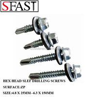 HEX HEAD SELF-DRILLING SCREWS ZINC PLATED WITH EPDM