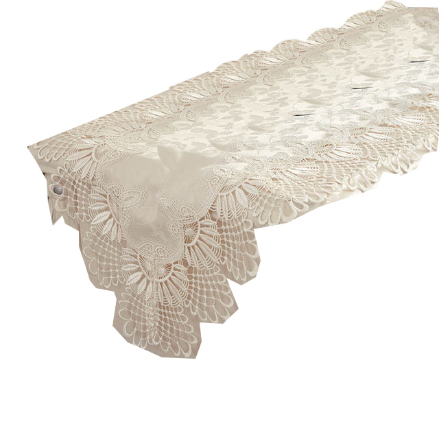 CHristmas Dining Flower Embroidery Chiffon  Table Runner set, White Luxury Lace Wedding Table Runner/