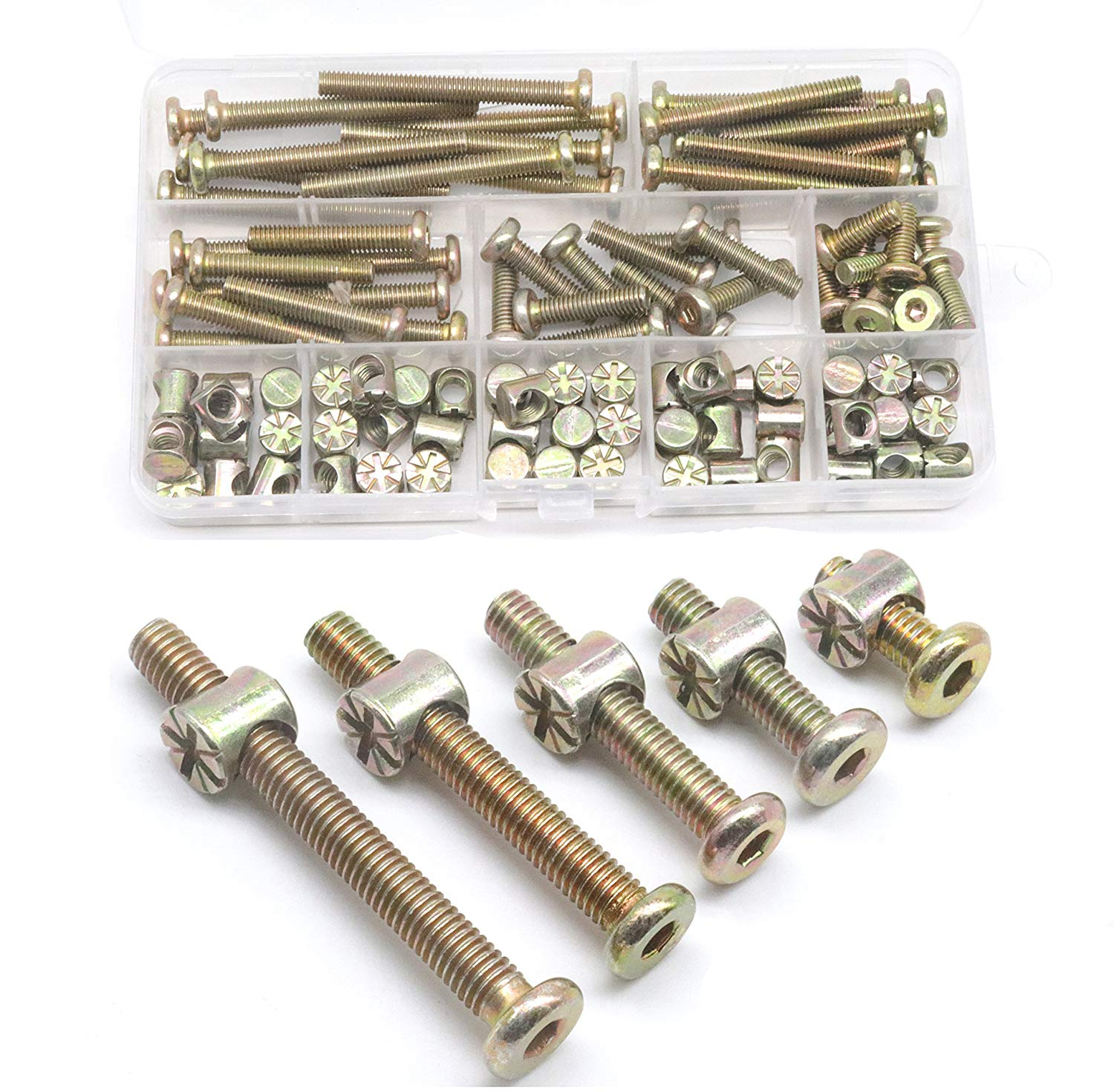 Sutemribor 120PCS M6 x 15//20 25//30 35mm Zinc Plated Hex Socket Head Cap Screws Bolts Furniture Bolts with M Barrel Nuts Assortment Kit for Furniture Cots Beds Crib and Chairs