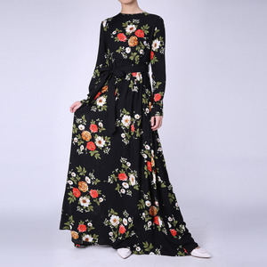 ethnic hijab abaya bridal wedding long women party lady muslim fashion floral print maxi dress