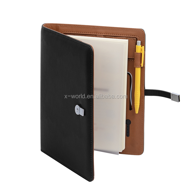 2017 Classic Business Notebook Portfolio, Card slot Power bank Charger Flip Leather Notebook